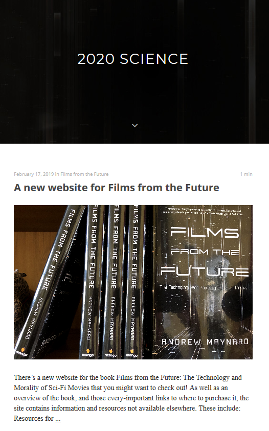 Screenshot of the 2020 Science blog homepage with a black banner and 2020 written in white text and the top of the most recent blog post visible.