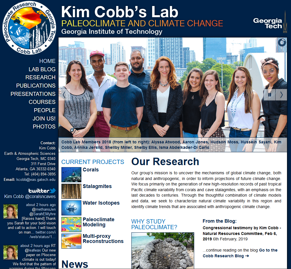Screenshot of Dr. Kim Cobb's website showing a photo of her lab members in the center.