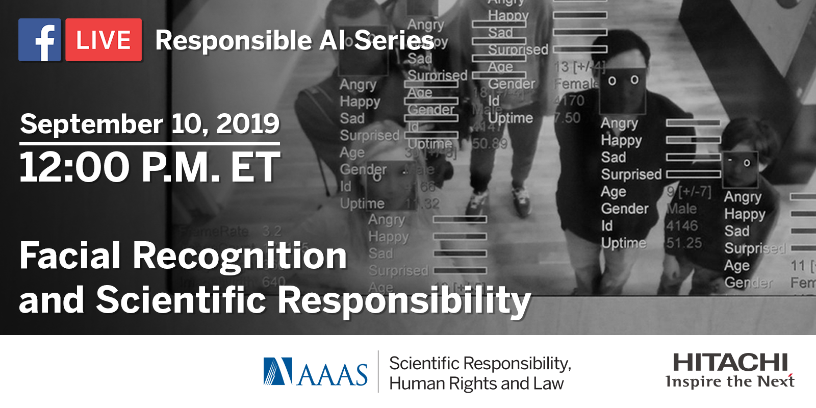 September 10, 2019 at 12PM Eastern: Facebook Live on Facial Recognition and Scientific Responsibility