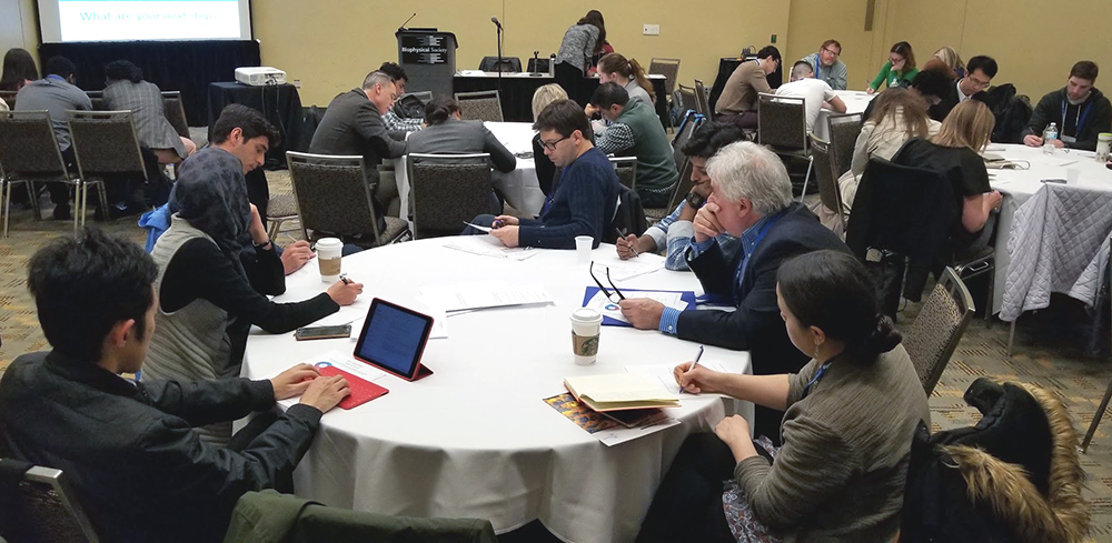 Workshop participants complete an activity at the 2019 Biophysical Society Annual Meeting