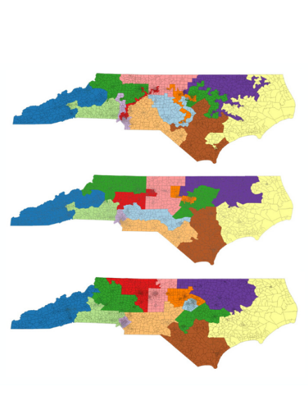 Three maps of North Carolina voting districts