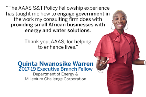 STPF fellow Quinta Nwanosike Warren with a quote about STPF's impact.