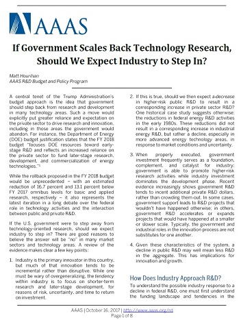 New Federal Study Suggests Public >> New Brief Could Industry Fill The Gaps Following Federal R D Cuts