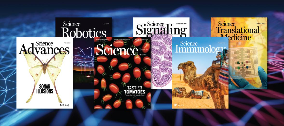 The covers of the six Science journals