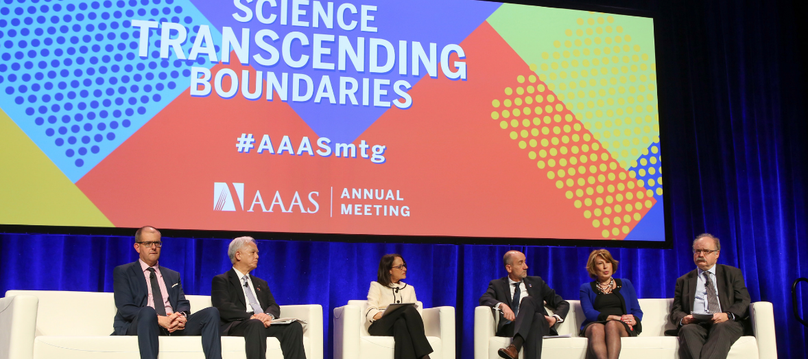 A panel of six people speak at the 2019 AAAS Annual Meeting
