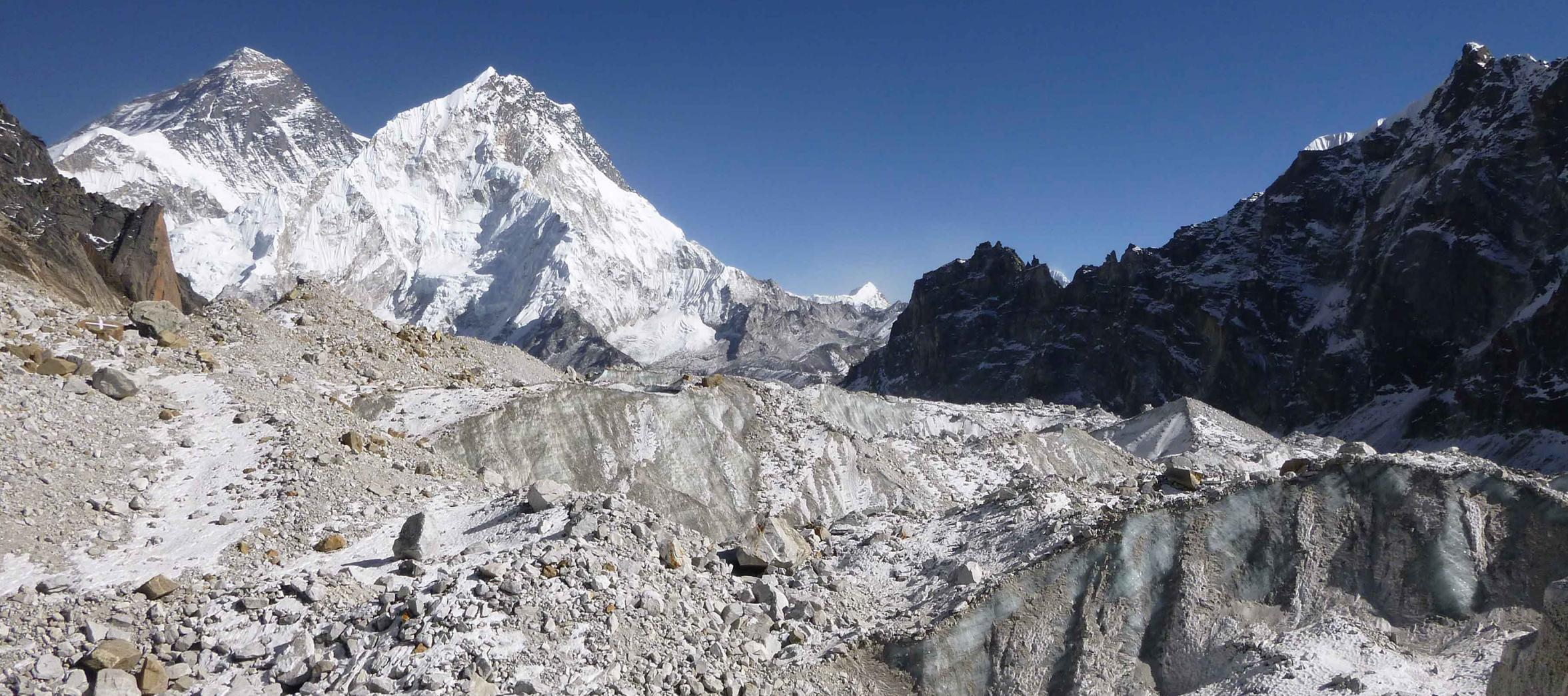 The Changri Nup, a typical debris-covered glacier in the Everest region. The complex surface characteristics of the glacier include patches of rock debris and exposed ice cliffs.