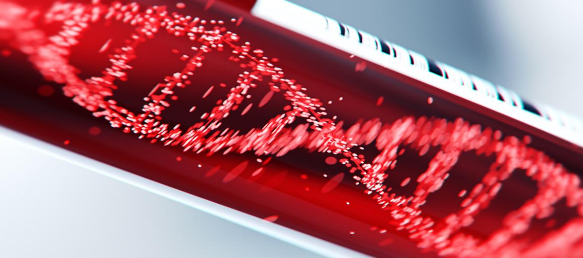 DNA molecule in test tube of blood illustration