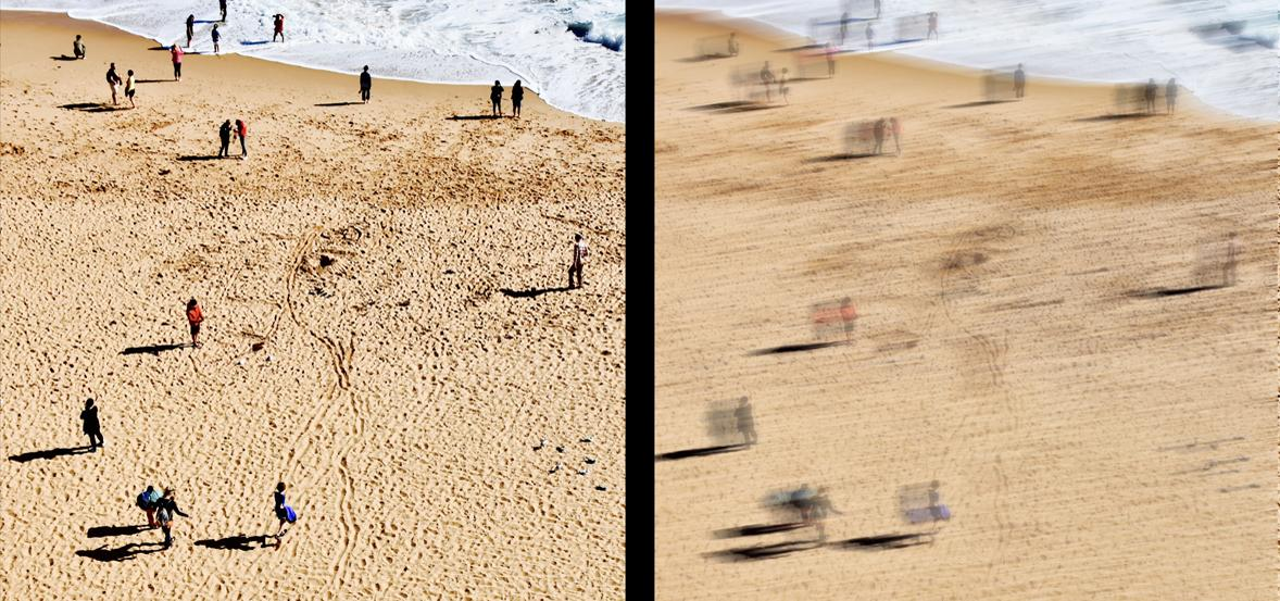 blurry image of people on beach