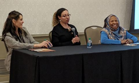 Image of panel speakers Annette Lee, Fatimah Jackson, and Liz DiGangi presenting at a DoSER Engaging Scientists event.