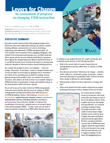 Executive Summary for Levers for Change report by AAAS
