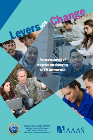 Cover for Levers for Change report, includes various images of diverse individuals engaging in STEM education