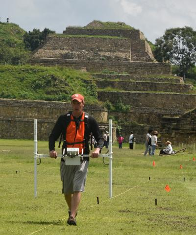 Scott Hammerstedt, Ph.D., uses an electrical resistance meter at a site in Monte Albán, Oaxaca, Mexico in 2017. Hammerstedt is currently working to find the remains of African Americans buried in mass graves after the Tulsa race massacre.