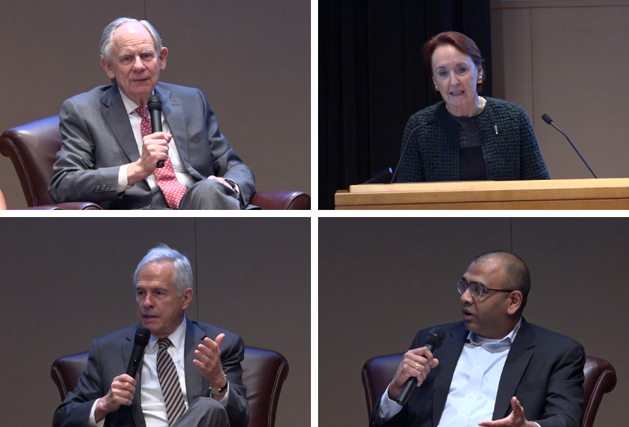A collage of four people speaking on a panel