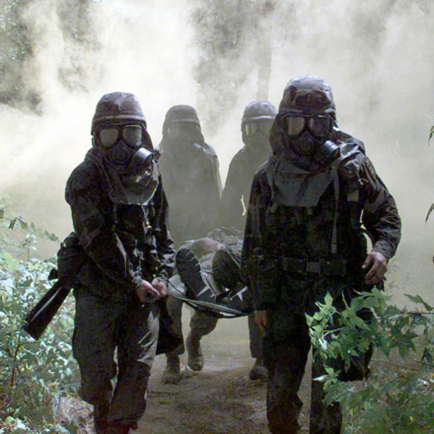 Soldiers gas attack training
