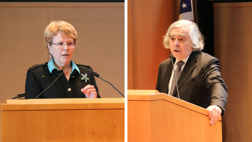 Ecologist Jane Lubchenco and nuclear physicist Ernest Moniz deliver climate speeches.