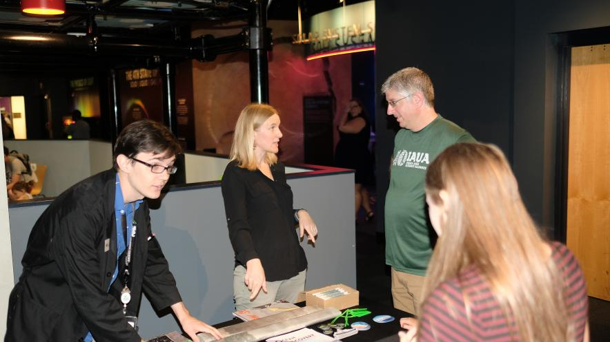 On her lecture tour, Sarah Feakins engages with visitors at the Adventure Science Center in Nashville, TN.