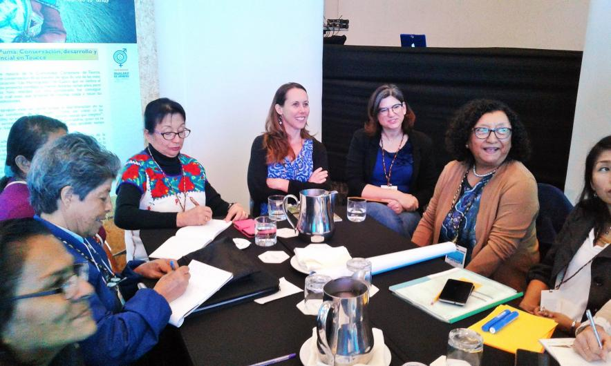 Kate Brauman talking with Peruvian women about their work managing water systems, at USAID Forum on Gender Equity and Water Security in Peru.