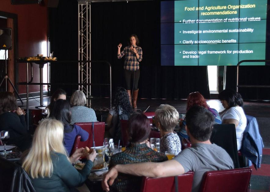 """Julie Lesnik at Wayne State University """"Knowledge on Tap"""" event in 2016."""