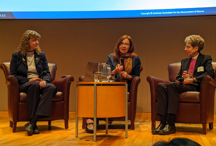 Jennifer Wiseman, Katharine Hayhoe and Katharine Jeffords Schori at the 2019 AAAS Holiday Lecture