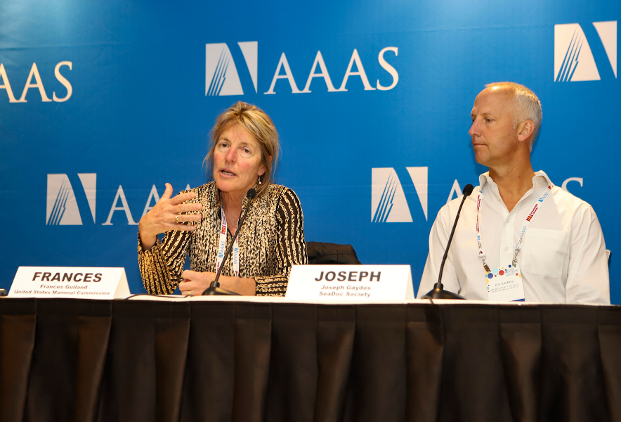 Two scientists sit before microphones in front of a blue AAAS backdrop