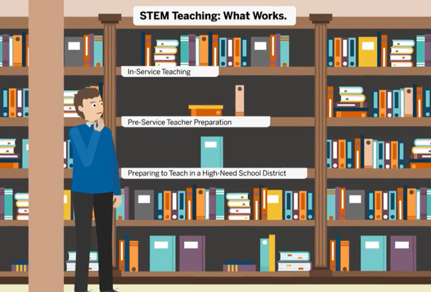 "A cartoon man stands in front of a bookshelf under the headline ""STEM Teaching: What Works"""