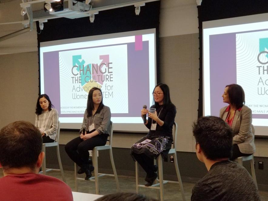 "Jin Kim Montclare speaking at ""Change the Culture: Advocate for Women in STEM"" at NYU."