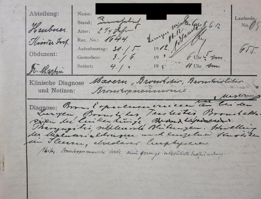 autopsy report from 1912 measles case