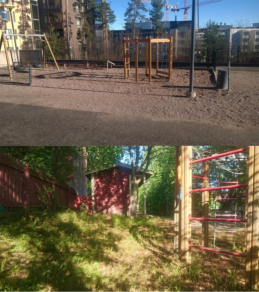 before and after photos of Finnish day care yard