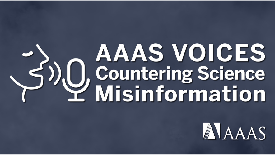 Logo for the AAAS Voices: Countering Science Misinformation video series