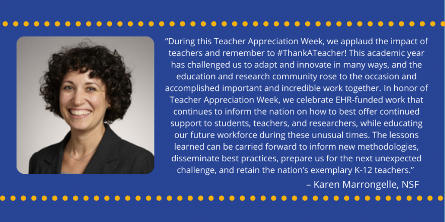 Picture of NSF director and text about teacher appreciation