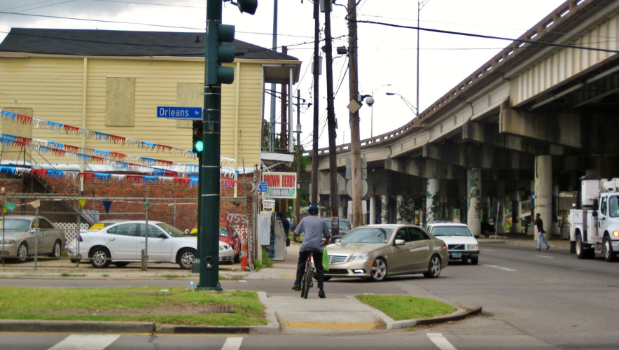 A street in New Orleans next to the Claiborne Expressway