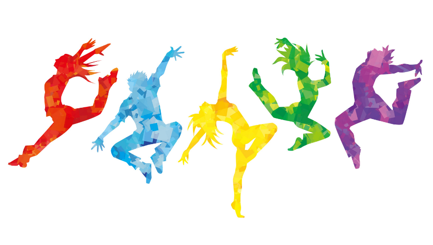 Colorful silhouettes of dancers