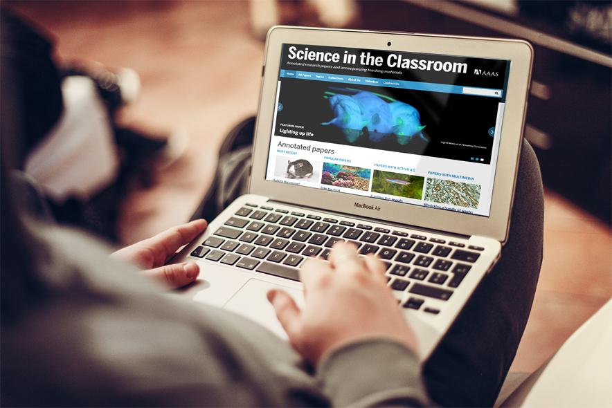 Science in the Classroom on laptop