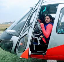 Mallika Sarma pictured inside helicopter.