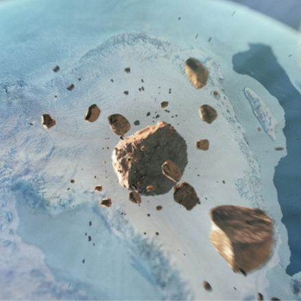 Artist's depiction of the iron meteorite hurtling through space before impacting in northwest Greenland