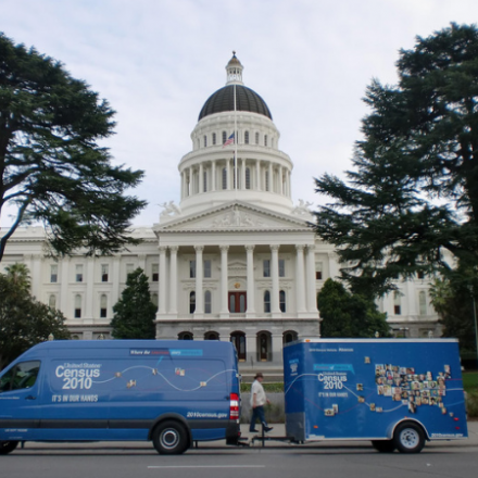 The Census 2010 bus in front of the California state capitol