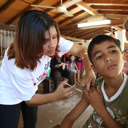 measles vaccination in Paraguay, 2014