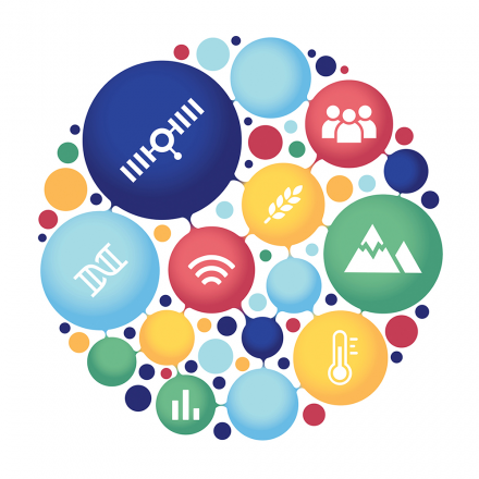 Collection of scientific images that make up the 2020 AAAS Annual Meeting logo