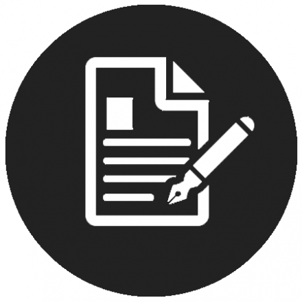 Black circular icon with white graphic of a form and pen