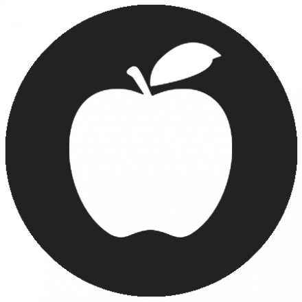 Black circular icon with white graphic of an apple