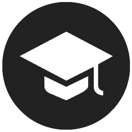 Black circular icon with white graphic of a graduation cap with tassel