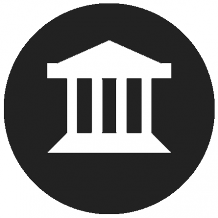 Black circular icon with white graphic of a building with pillars