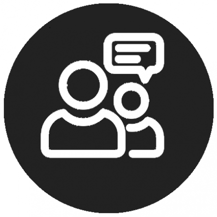 Black circular icon with white graphic of two people talking