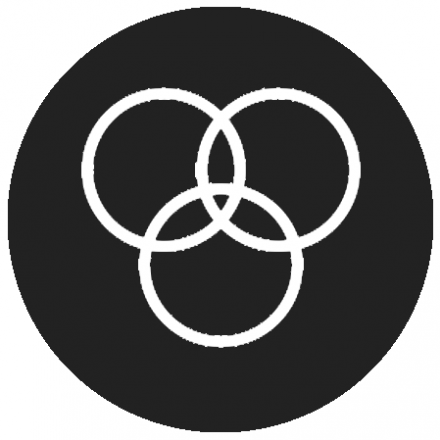 Black circular icon with white graphic of three intersecting circles