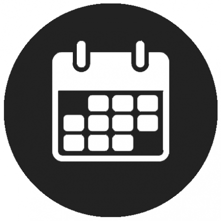 Black circular icon with white calendar graphic