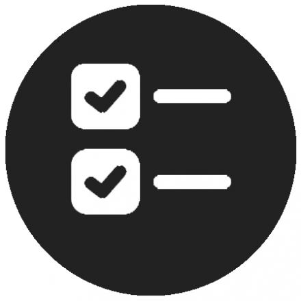 Black circular icon white graphic of a checklist