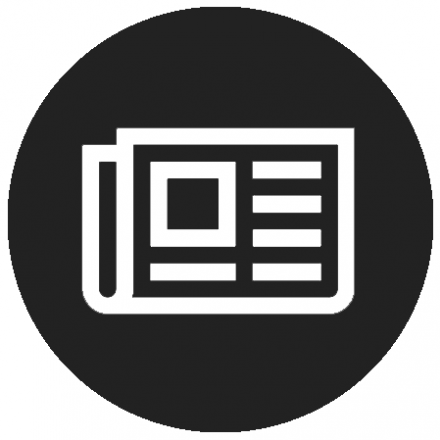 Black circular icon with white newspaper graphic