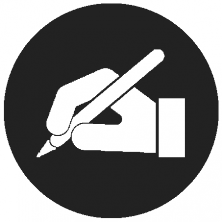 Black circular icon white graphic of a hand holding a pen