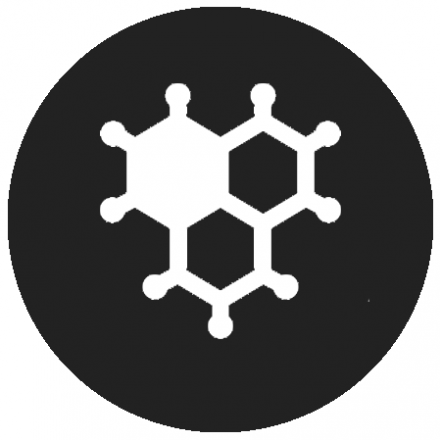 Black circular icon with white graphic of molecules