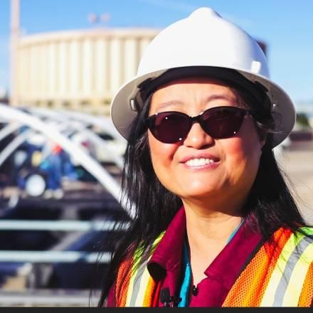 Peu Xu is leading a pilot-scale research project at the Jacob A. Hands Wastewater Treatment Facility in Las Cruces to develop a treatment process for reuse of wastewater. (NMSU photo by Vladimir Avina)